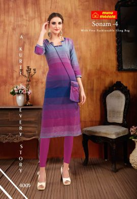 Minu Multi South Handloom Fabric Long Kurti With Slim Bag Kurti