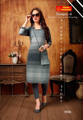 Minu Grey South Handloom Fabric Long Kurti With Slim Bag Kurti
