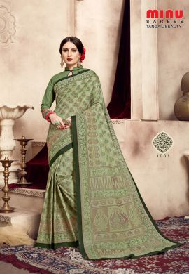 Minu Green Cotton Printed Exclusive Tangle Beauty Saree Sarees