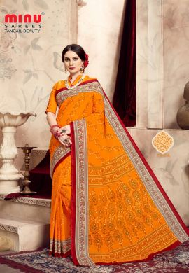Minu Orange Cotton Printed Exclusive Tangle Beauty Saree Sarees