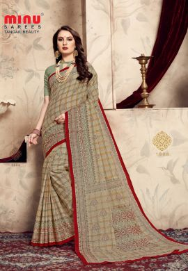 Minu Multi Cotton Printed Exclusive Tangle Beauty Saree Sarees