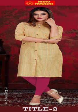 Minu Yellow Pure Indian Handloom Fashionable Kurti