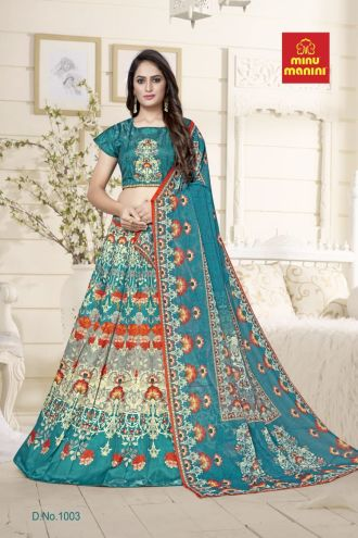 Minu Green Bangalori Satin Blouse And Kali-Patterned Lehenga Gown