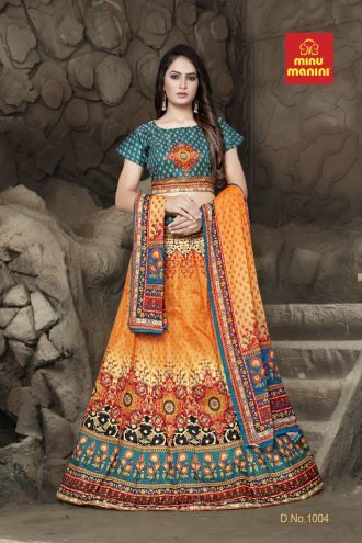 Minu Green And Orange Bangalori Satin Blouse And Kali-Patterned Lehenga Gown