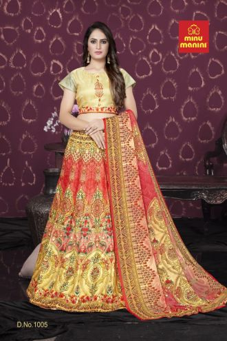 Minu Golden And Light Red Bangalori Satin Blouse And Kali-Patterned Lehenga Gown