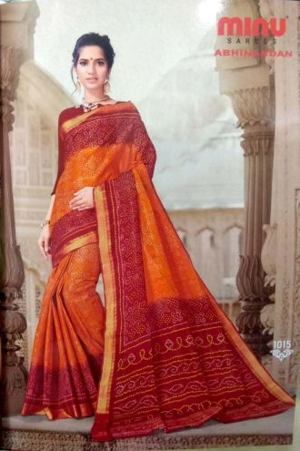 Minu Orange And Red Cotton Printed Exclusive Abhinandan Saree Sarees