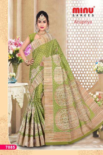 Minu Green Cotton Designer Printed Sarees