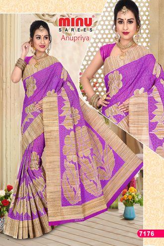 Minu Pink Cotton Designer Printed Sarees