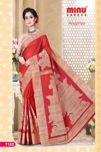 Minu Red Cotton Designer Printed Sarees