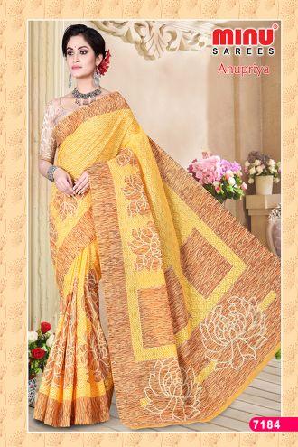 Minu Yellow Cotton Designer Printed Sarees