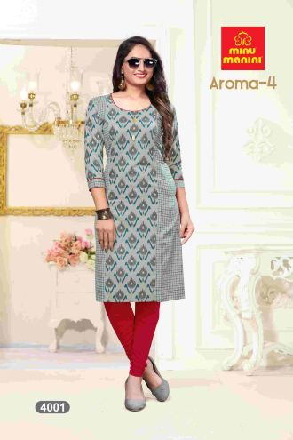 Minu Grey Premium Cotton Princess Cut Long Kurtis Kurti