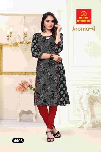 Minu Black Premium Cotton Princess Cut Long Kurtis Kurti