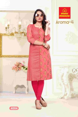 Minu Salmon Premium Cotton Princess Cut Long Kurtis Kurti