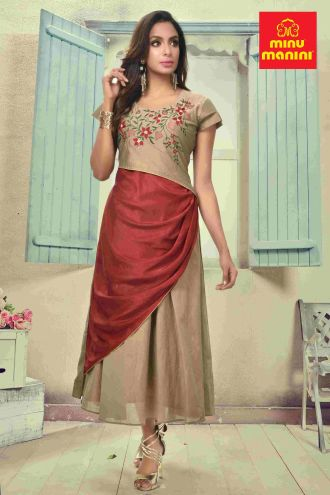 Minu Egg Nog Yellow With Maroon Katan & Dola Silk With Heavy Embroidery Gown