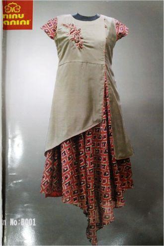 Minu Egg Nog Yellow Chanderi Slik & Printed Jute Silk Gown