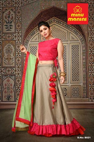 Minu Pink Banarasi Silk & Tasar Silk With Chanderi Dupatta Gown