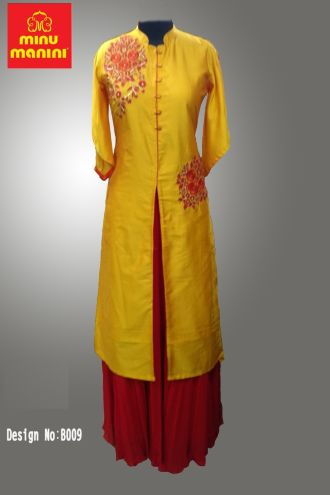 Minu Yellow Jute Silk With Heavy Embroidery Gown