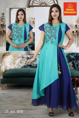 Minu Sea Blue Modal Chanderi Crepe With Gold Lama Gown