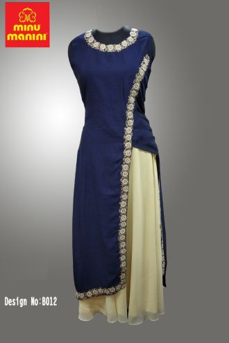 Minu Dark Blue Dola Silk & Georgette With Heavy Hand Work Gown