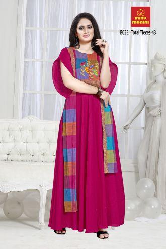 Minu Pink Dola Silk With Cotton Slub Embroidered Designer Ja Gown