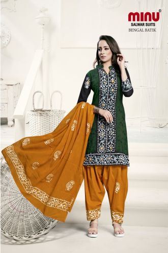 Minu Green Batik Print Exclusive Winter Collection Salwarsuit