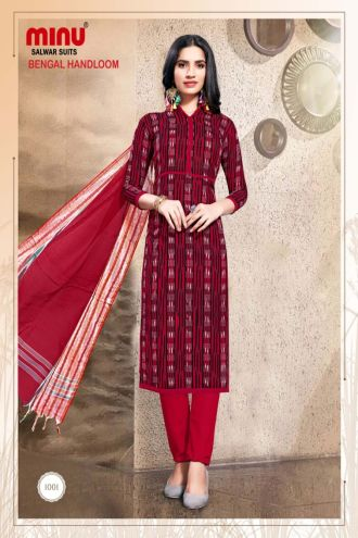 Minu Red Pure Handloom Cotton Printed Salwarsuit