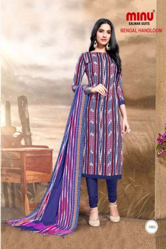 Minu Multi Pure Handloom Cotton Printed Salwarsuit