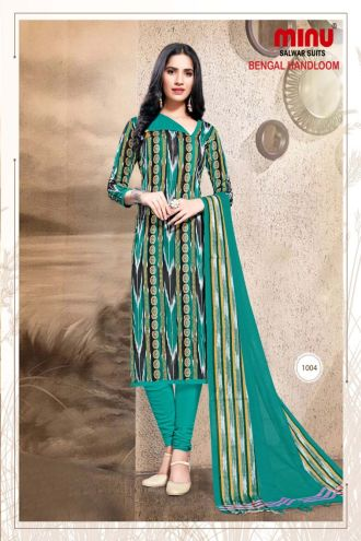 Minu Green Pure Handloom Cotton Printed Salwarsuit