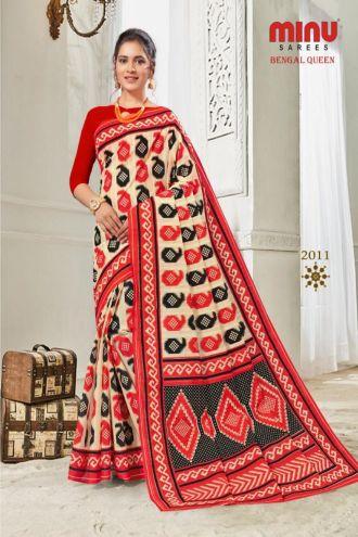 Minu Multi Cotton Printed Best Selling Sarees