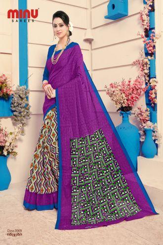 Minu Multi Cotton Digital Printed Sarees