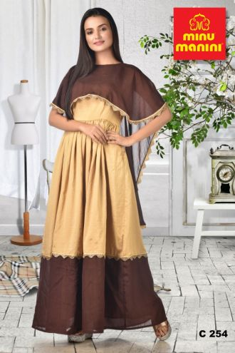 Minu Cream Beige Dola Silk Dress With  Brown Cape Gown
