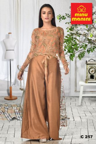 Minu Light Brown Bronze Crop Top And Palazzo Pant With Heavy Zari W Gown