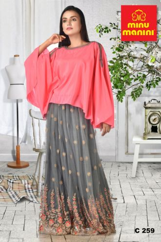 Minu Pink Heavy Zari Work Grey Net Skirt With Pink Georgette Gown
