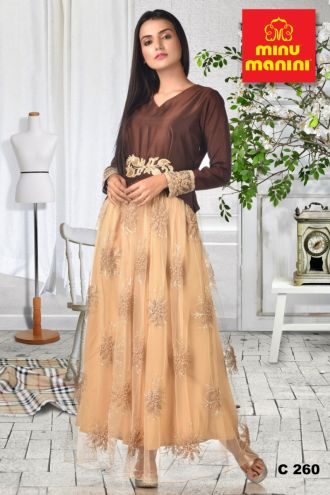 Minu Pink Coffee Dola Silk Top With Beige Moti And Zari Work Gown