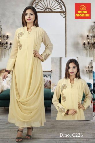 Minu Cream Fabric Details  Georgette With Jardousi Work Gown