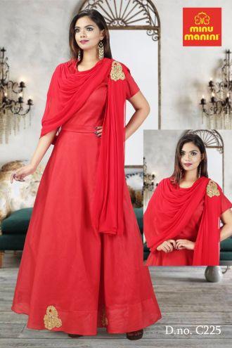 Minu Red Slub Chanderi & Georgette With Jardousi Buta Gown