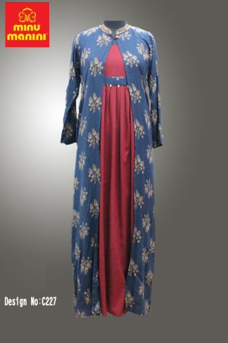 Minu Red And Steel Blue Fabric Details Rayon Zari Work Gown