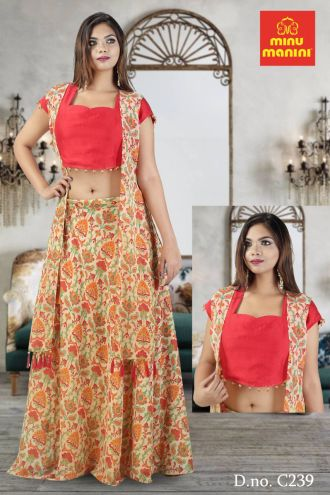 Minu Indian Red Fabric Details Dola Silk & Printed Georgette Gown