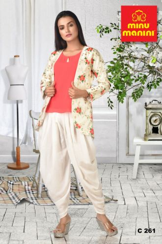 Minu Pink And Cream Georgette Top Dola Silk Pant Full Emroidered Jacke Gown