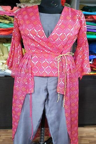 Minu Pink Gold Printed Chiffon   &  Fancy Fabric Gown