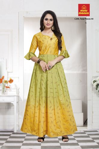 Minu Lemon Green Designer Chanderi Gown With Foil Print Pattern Gown