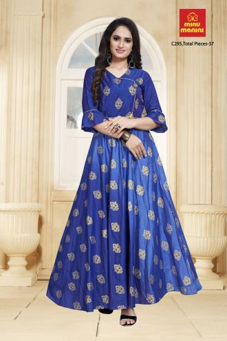 Minu Blue Designer Chanderi Gown With Foil Print Pattern Gown