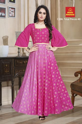Minu Pink Designer Chanderi Gown With Foil Print Pattern Gown
