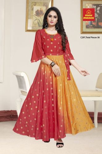 Minu Brick Red Designer Chanderi Gown With Foil Print Pattern Gown