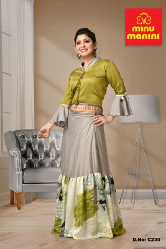 Minu Green Poly Silk / Roma Silk / Art Silk Gown