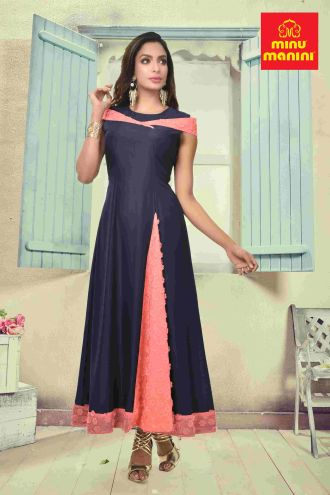 Minu Denim Blue And Light Pink Maslin & Fancy Georgette Gown
