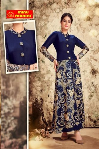 Minu Blue With Golden Touch Muslin Top And Georgette Bottom With Fancy Embroid Gown
