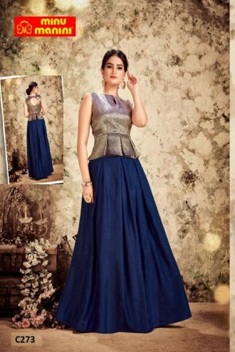 Minu Blue And Golden Dols Silk Botton With Fancy Banarasi Silk Top With Gown