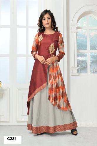 Minu Maroon Minu Manini Fashionable Gota Print Brocade And Dol Gown