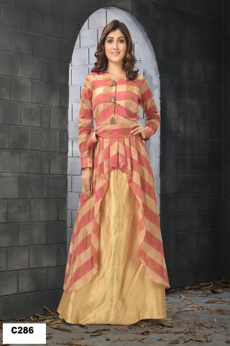 Minu Cream Designer Silk Chokra Gown With Crackle Bottom Gown